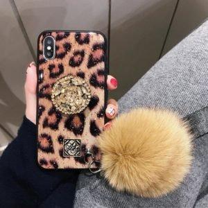PEEPS™ Glitzy iPhone & Samsung Case (With Fur Hair Ball & Diamond Bracket)