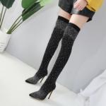 Thigh Heel-Crystal Stretch Fabric