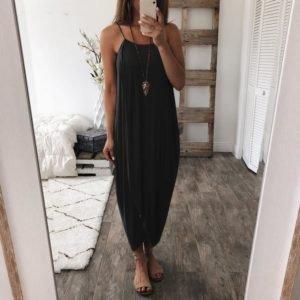 Women Summer Loose Straps Sleeveless Dress