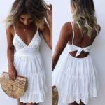 Women Lace Backless Dress